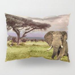 Elephant Landscape Collage Pillow Sham