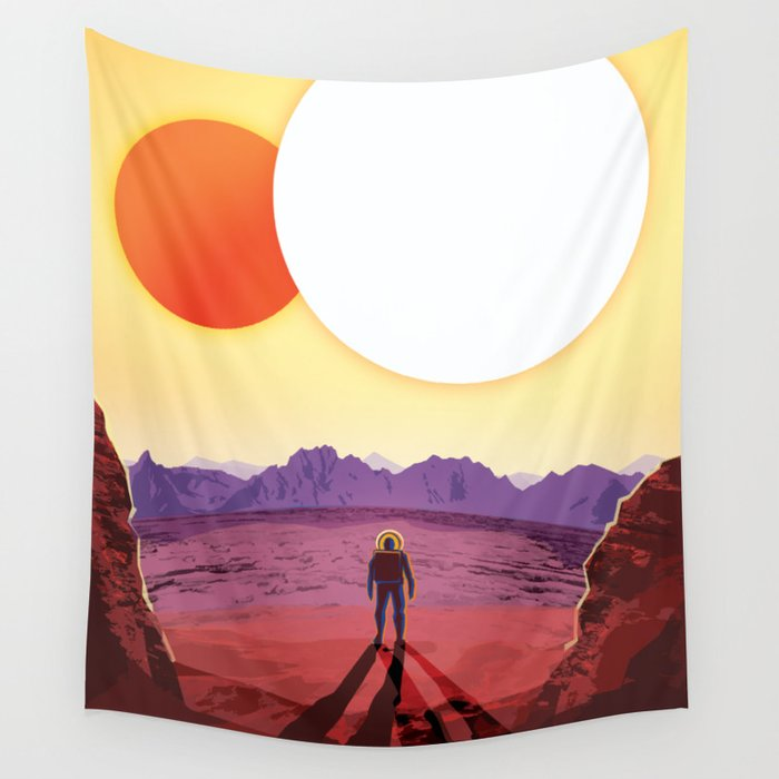 NASA Retro Space Travel Poster #8 Kepler 16b Wall Tapestry