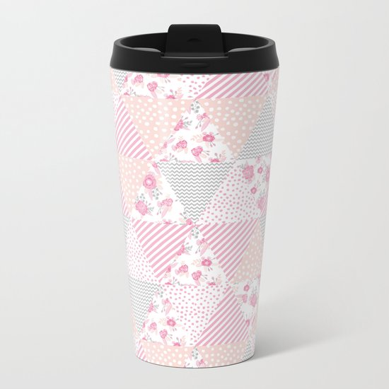 Pink soft flowers triangle quilt pattern print for home decor nursery craft room Metal Travel Mug