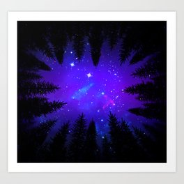 Magical Forest Galaxy Night Sky Art Print