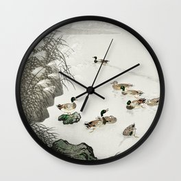 Ducks Swimming In The Lake - Japanese Vintage Woodblock Print Wall Clock