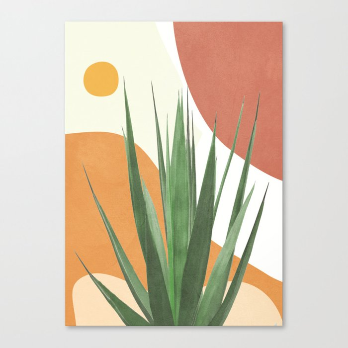 Abstract Agave Plant Canvas Print by Flow Line