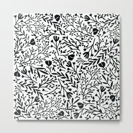 Scattered Flowers Black and White 2 Metal Print