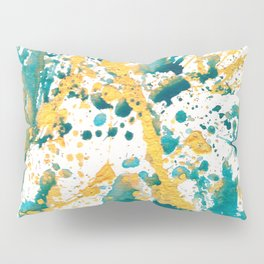 Teal and Gold Splatter Paint  Pillow Sham