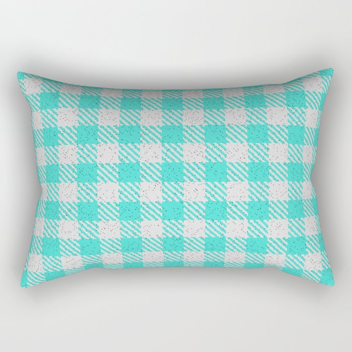 Turquoise Buffalo Plaid Rectangular Pillow