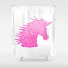 Pink Glitter Unicorn Shower Curtain