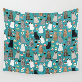 Cat Sushi pattern by pet friendly cute cat gifts for pet lovers foodies kitchen Wall Tapestry