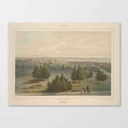Vintage Pictorial View of Toronto Canada (1851) Canvas Print