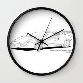 Lamborghini Countach 5000QV (US spec) Line Illustration Wall Clock