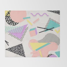80s / 90s RETRO ABSTRACT PASTEL SHAPE PATTERN Throw Blanket