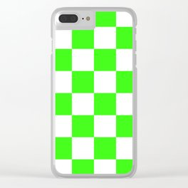 Large Checkered - White and Neon Green Clear iPhone Case