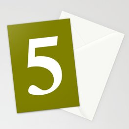 5 (WHITE & OLIVE NUMBERS) Stationery Cards