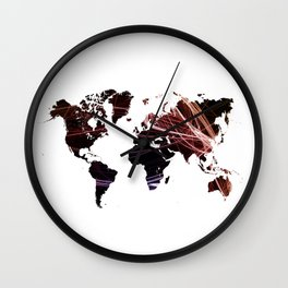Fractal world map Wall Clock