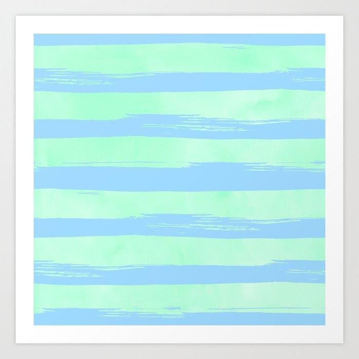Trendy Stripes Blue Raspberry + Mint Meringue Art Print