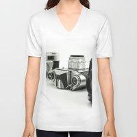 cameras V-neck T-shirts featuring cameras by Falko Follert Art-FF77