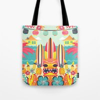 tiki Tote Bags featuring Tiki by Claire Lordon