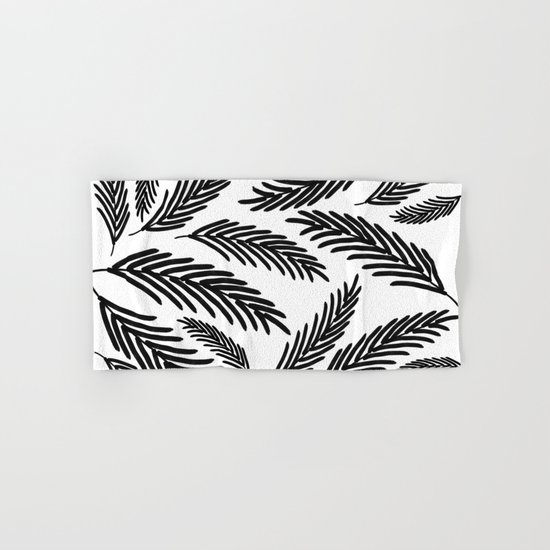 Palms Leaves on White Hand & Bath Towel