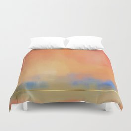 Abstract Landscape With Golden Lines Painting Duvet Cover