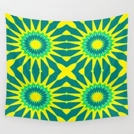 Green & Yellow Pinwheel Flowers Wall Tapestry