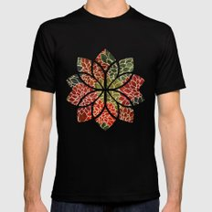 Floral Abstract 7 Black X-LARGE Mens Fitted Tee