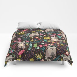 Raccoons bright pattern Comforters