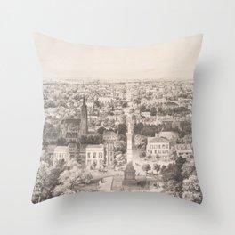 Vintage Pictorial Map of Savannah Georgia (1856) Throw Pillow