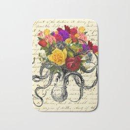 Octopus Attacking Flowers Bath Mat