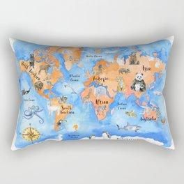 World Map of Animals Watercolor Rectangular Pillow