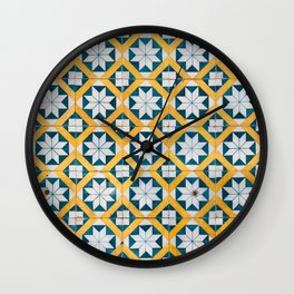 Star Tiles Mosaic Repeat Patten Blue And Yellow Wall Clock
