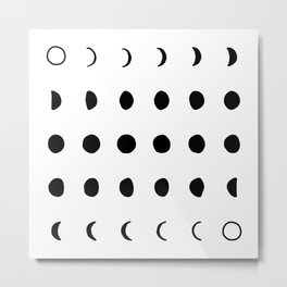 moon phases - black and white Metal Print