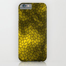 Stained glass texture of snake gold leather with bright heat spots. iPhone Case