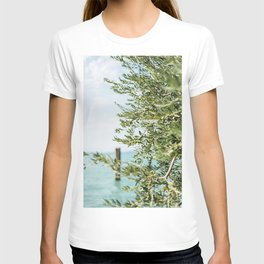 Olive tree by the turqoise ocean   Travel photography Italy   Fine art photo print T-shirt