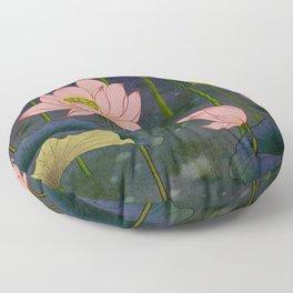 Lotus flowers E - Minhwa-Korean traditional/folk art Floor Pillow