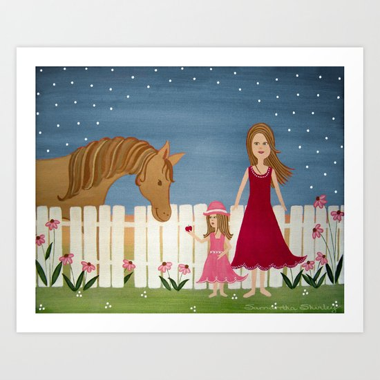 Apple Blossom (Blue Skies) - Girl & Horse Kids Art Art Print