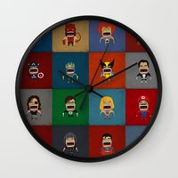 heroes Wall Clocks featuring Screaming Heroes by That Design Bastard