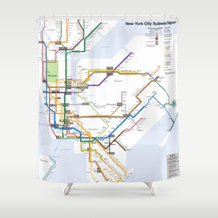 Ny Subway Map Shower Curtain.New York Subway Map Shower Curtain By Proffesionaldesigner