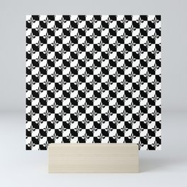 Black and White Checkerboard Checked Squares with French Fleur de Lis Mini Art Print