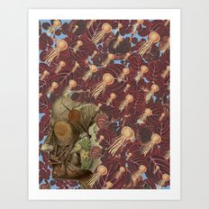 just keep swimming anatomical collage by bedelgeuse Art Print