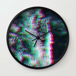 Oceanic Glitches - Splash of Greenery Wall Clock