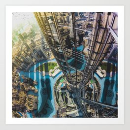Dubai from the tallest building in the world Art Print