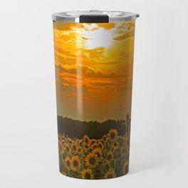 Field of Sunflowers at Sunset Travel Mug