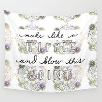 hippie Wall Tapestries featuring Happy Hippie  by Kate Melendez