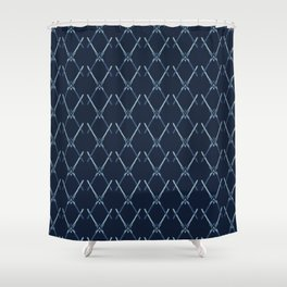 Indigo Pattern Cross Net Hand Drawn Shower Curtain