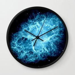 Crab Nebula Turquoise Wall Clock