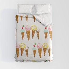 Ice Creams, Watercolor Ice Creams Duvet Cover