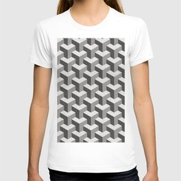 Interlocking Cubes Pattern - Black, White, Grey T-shirt