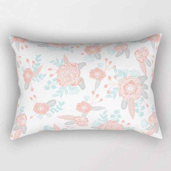 Floral bouquet pastel mint pink florals painted painted pattern basic minimal pattern print Rectangular Pillow
