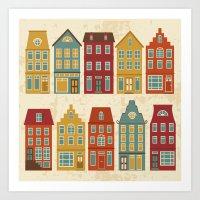 amsterdam Art Prints featuring Amsterdam by olillia
