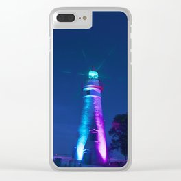 Marblehead Lighthouse Night Clear iPhone Case