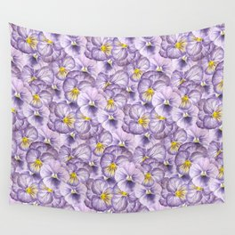 Watercolor floral pattern with violet pansies Wall Tapestry